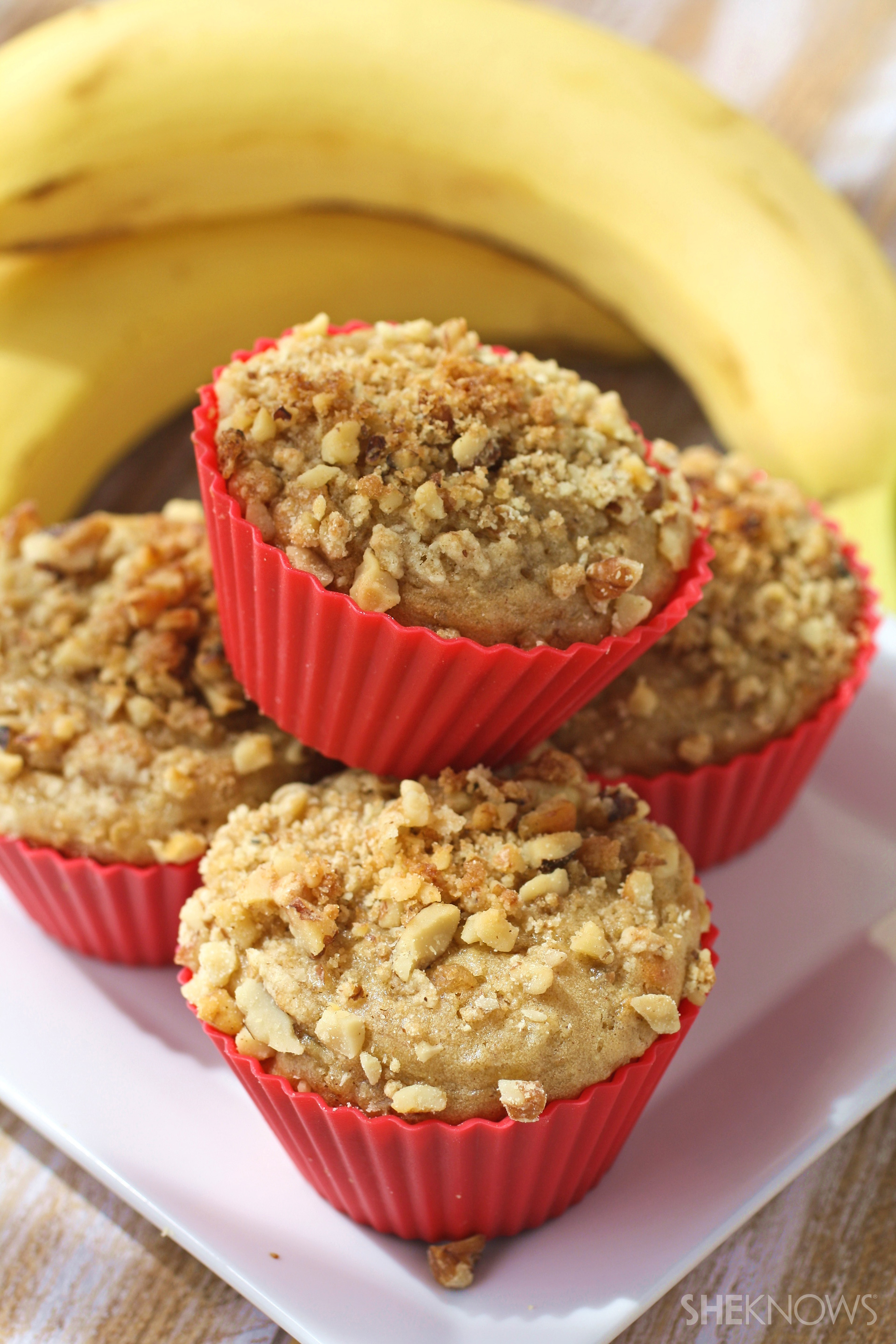 Gluten-free buttermilk, banana, and quinoa muffins with crumble topping