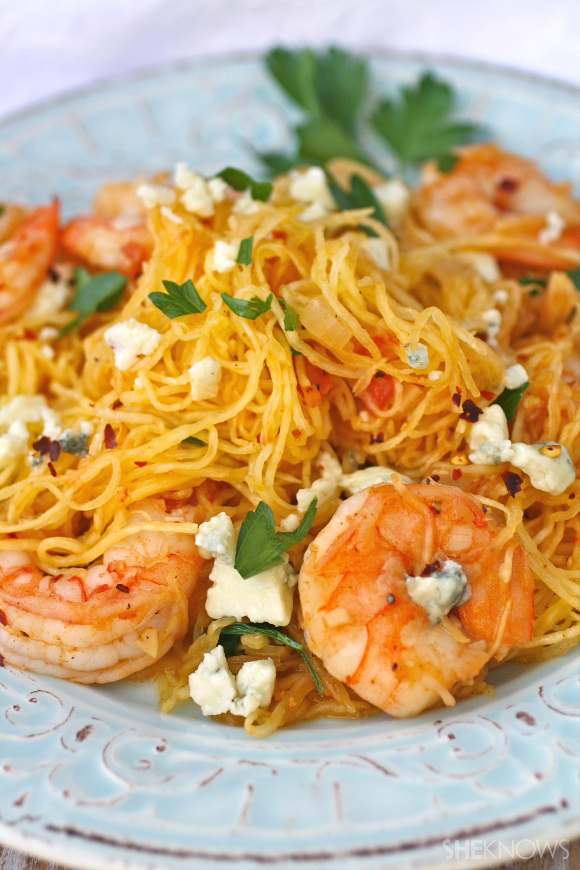 Spicy shrimp and spaghetti squash with Gorgonzola