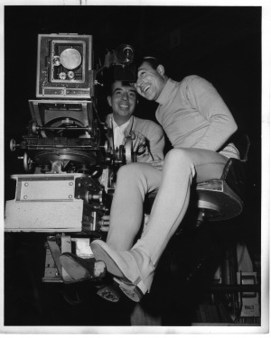 Gene Kelly behind the camera with Vincente Minnelli directing
