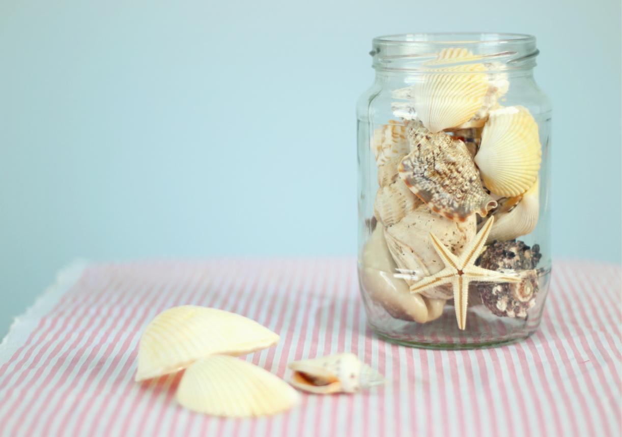 mason jar seashells