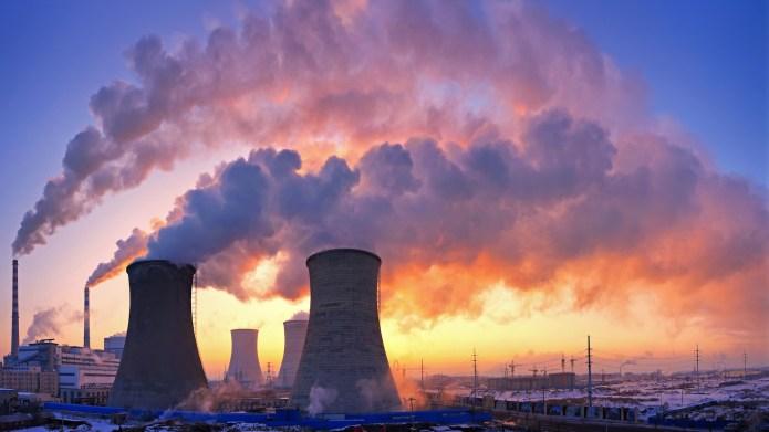 photo of power plant at sunrise