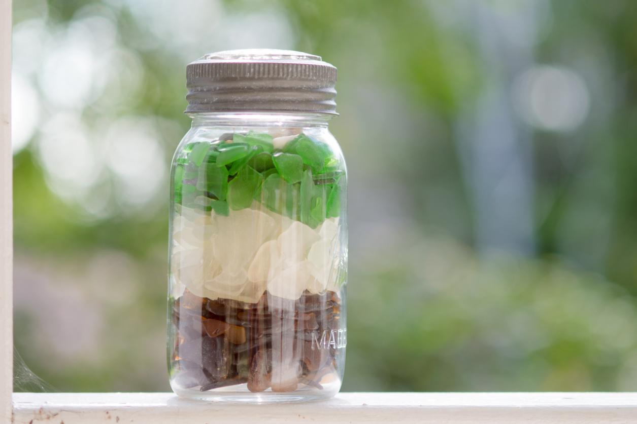 mason jar sea glass