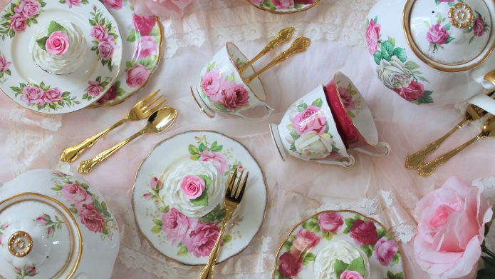 High tea party, pink roses vintage
