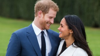 Prince Harry and Meghan Markle, wearing