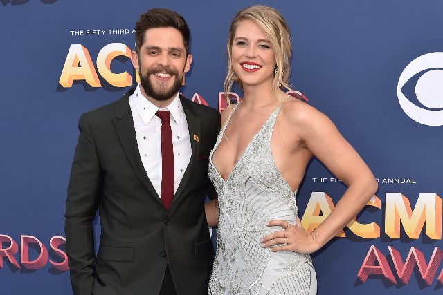 Thomas Rhett and Lauren Akins attend the 53rd Academy of Country Music Awards