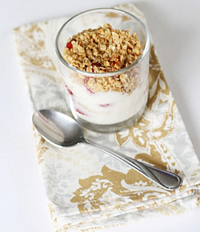 Berry breakfast parfait with simply scrumptious granola