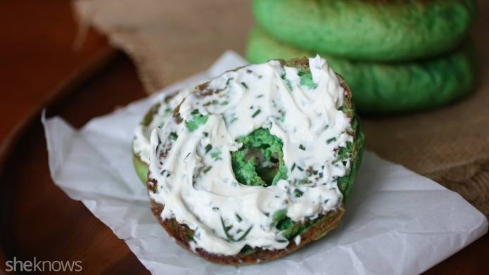 Homemade green bagels with chive cream