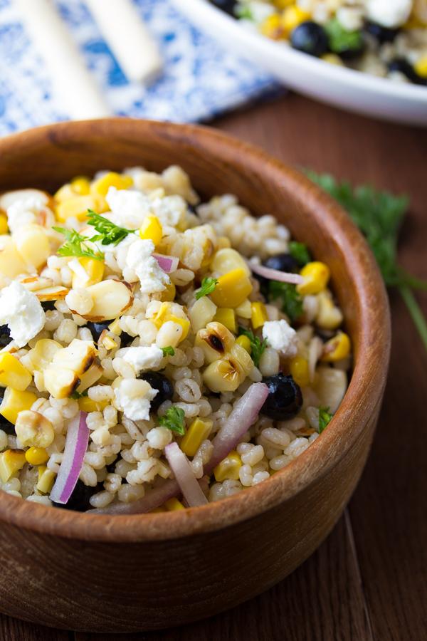 grilled corn and barley salad