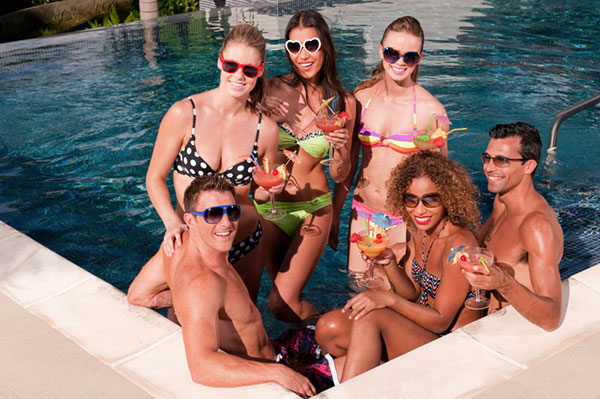Group of friends having a pool party