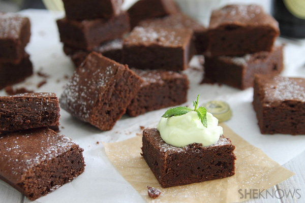 Guinness brownie with mint whipped cream