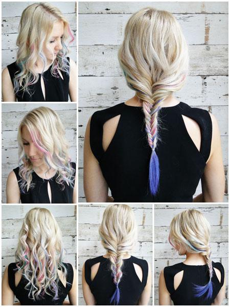 Hair braid with color chalk tutorial