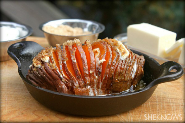 Hasselback sweet potatoes with mini marshmallows and brown sugar butter