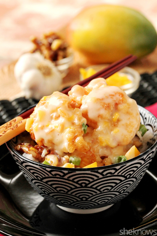 honey mango and garlic walnut shrimp in bowl
