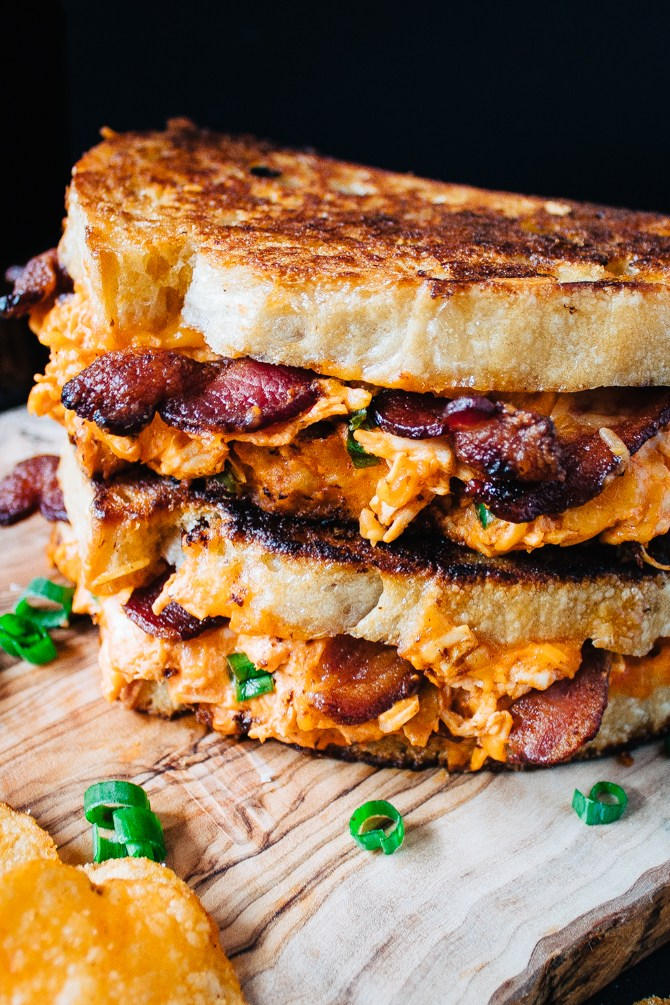 hot buffalo chicken and bacon grilled cheese