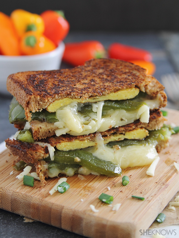 Chili relleno grilled cheese sandwich