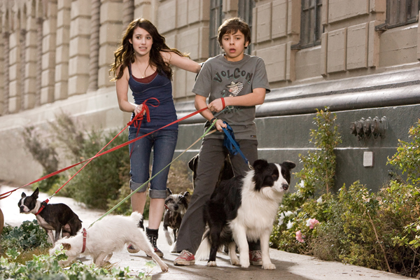 Emma Roberts takes the dogs for a walk