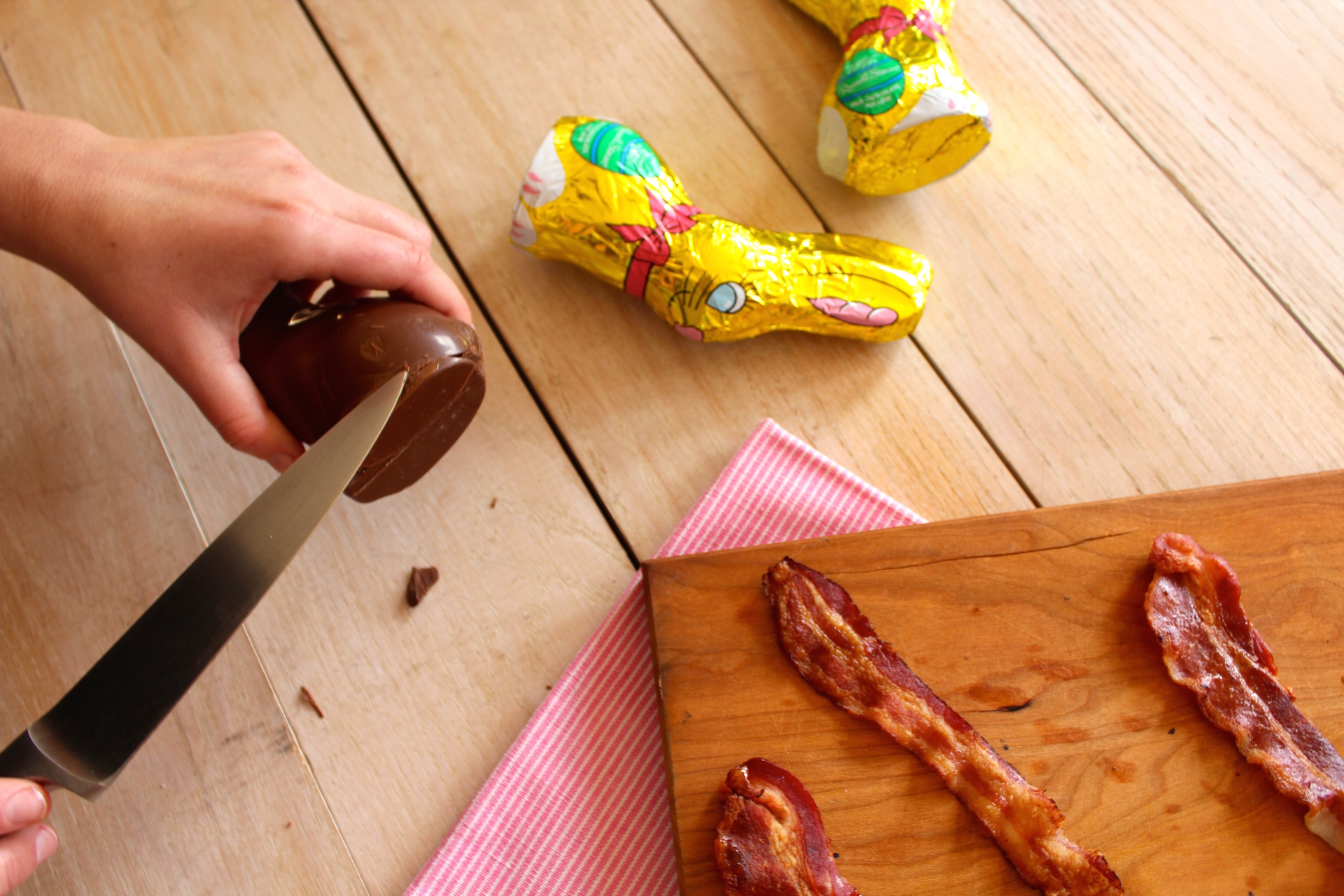 bacon-filled chocolate bunny