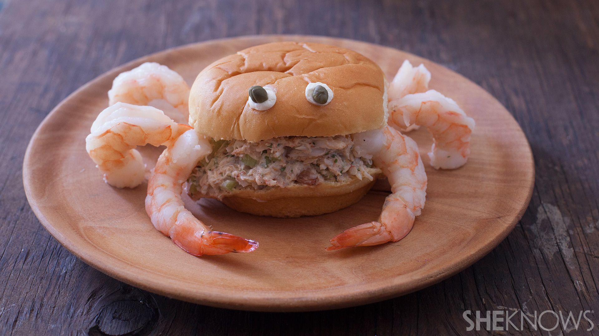 Crabby Sandwich with shrimp and kid friendly cocktail sauce
