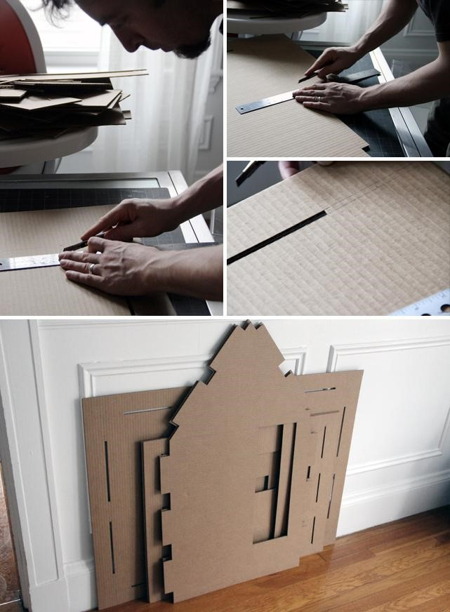Incredible Forts to Build: Slotted cardboard house design