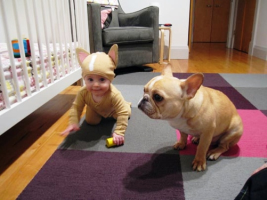That moment when you can't tell the difference between the baby and the dog...