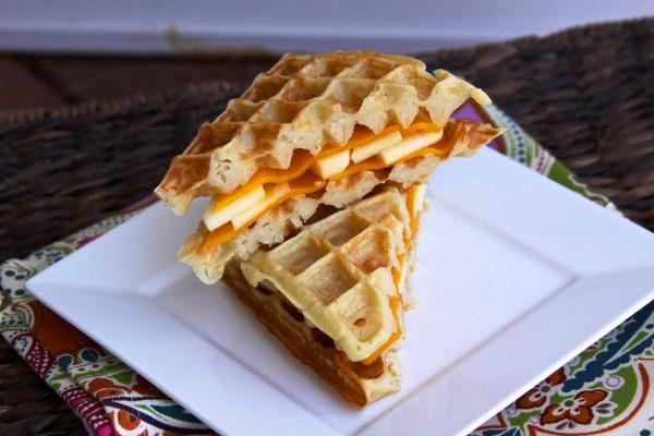 Apple and Cheddar Stuffed Waffle Sandwich