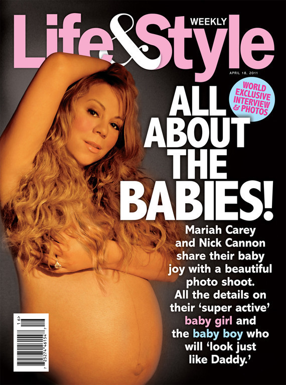 Mariah Carey shows off her baby bump by posing nude