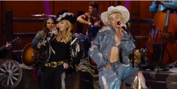 Miley Cyrus and Madonna