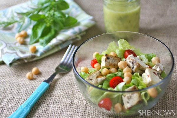 Grilled herbed tofu and chickpea salad