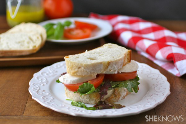 Caprese-style sandwiches with basil vinaigrette dressing