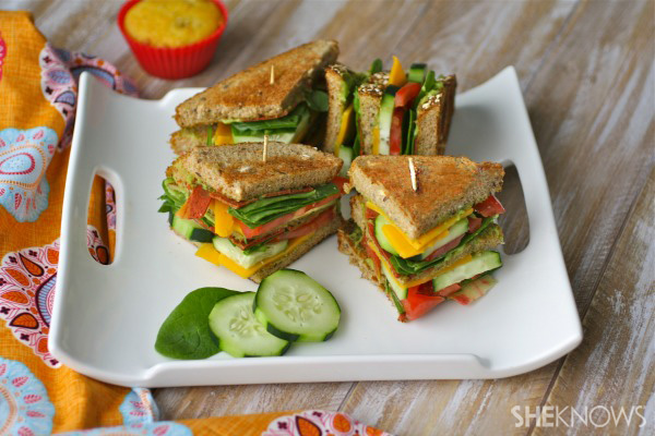 Meatless Monday: Veggie club sandwiches with garlic-avocado spread