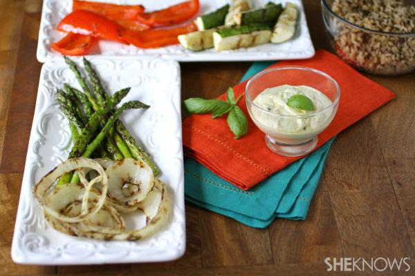 Grilled vegetables with lemon-basil aioli