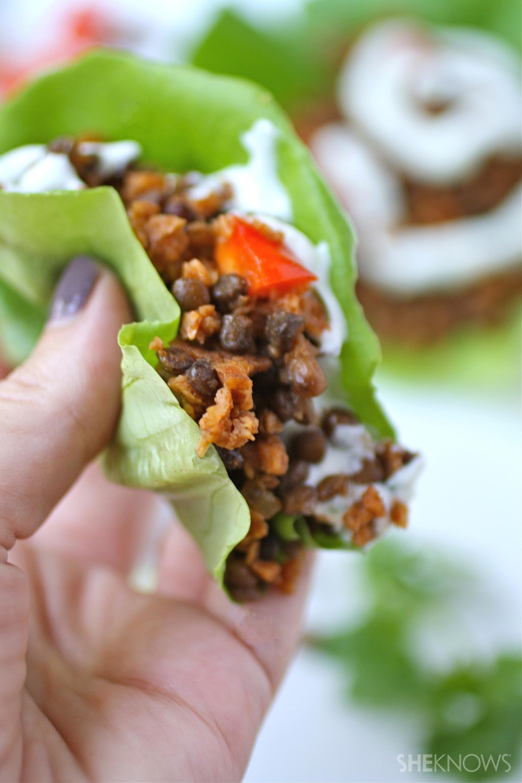 Homemade soy chorizo and lentil lettuce wraps with cilantro cream