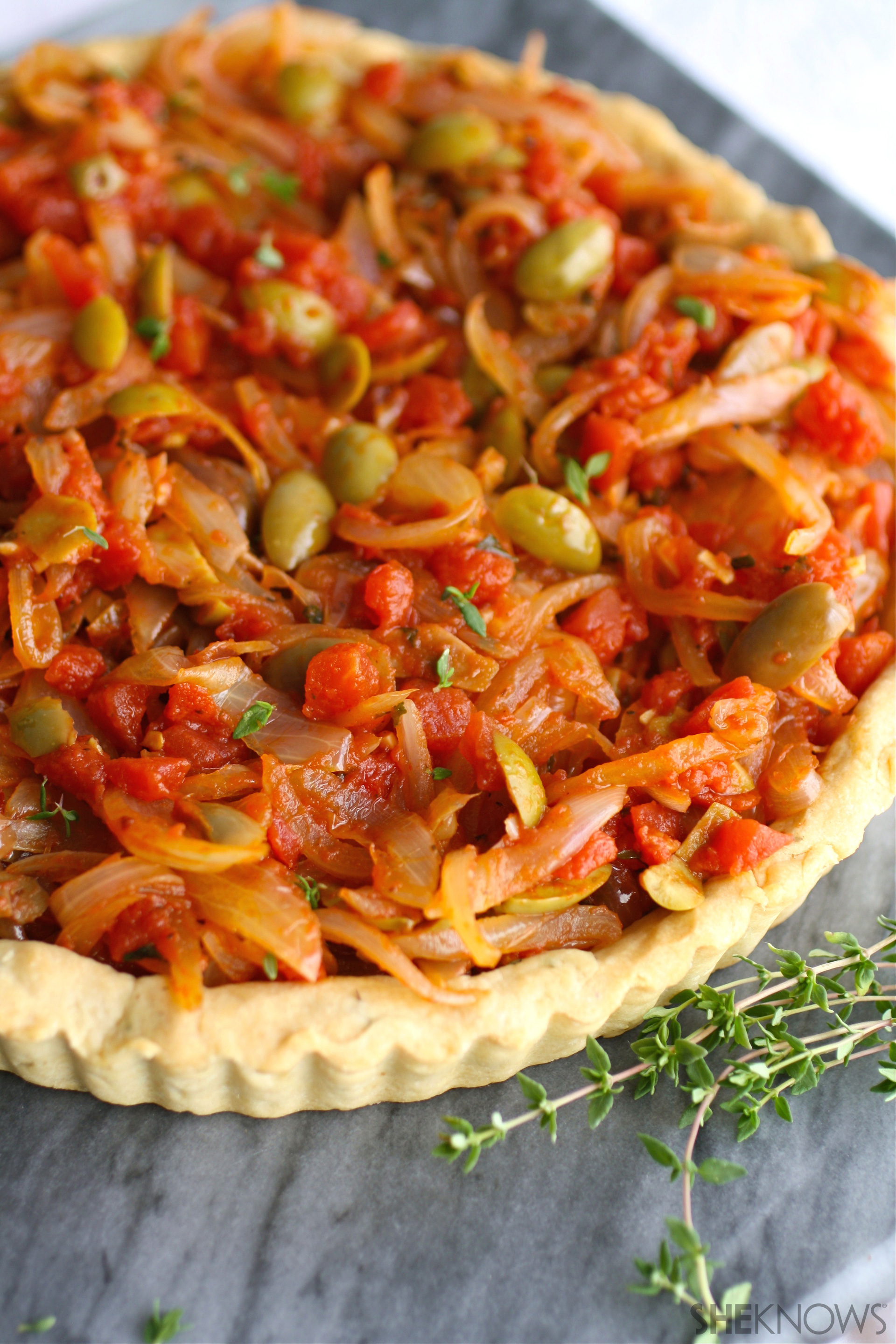 Onion, tomato, and olive pissaladière