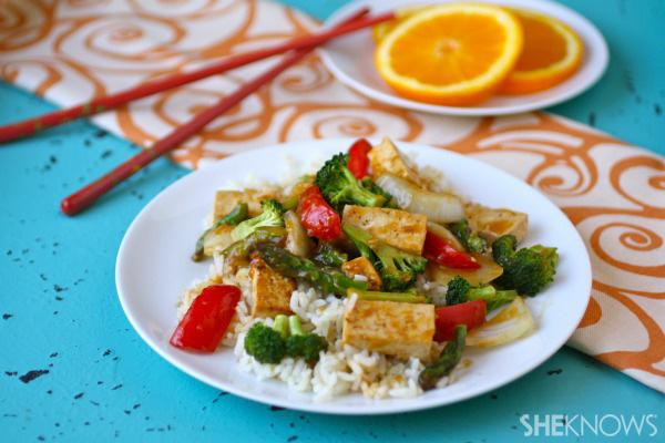 Orange-ginger tofu stir fry