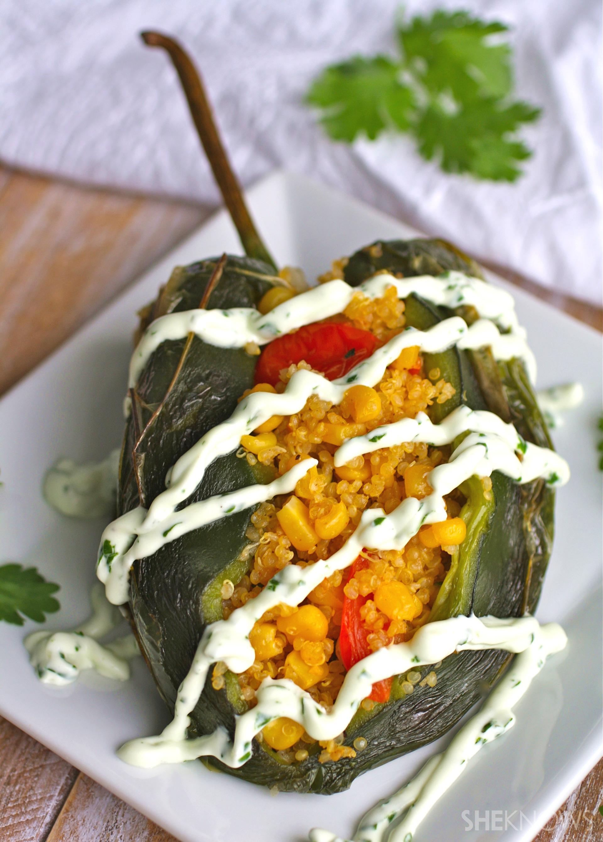 ?Corn and quinoa-stuffed poblano peppers with cilantro cream sauce
