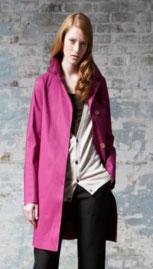 woman modeling mackintosh raincoat