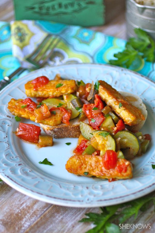Vegan ratatouille with tempeh