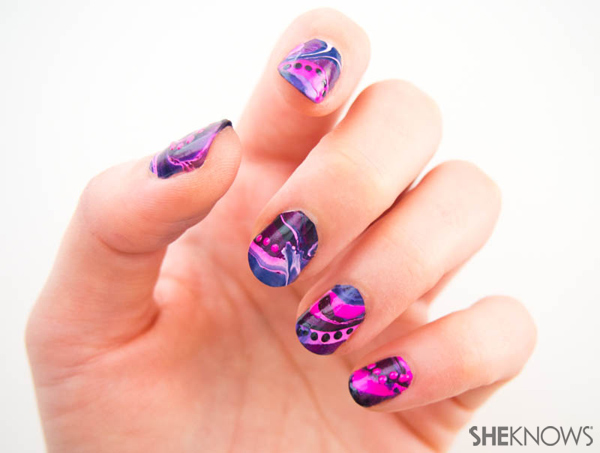 Marbled nail design with polka dots | Sheknows.com -- final result