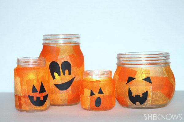 Mason jar Halloween pumpkins