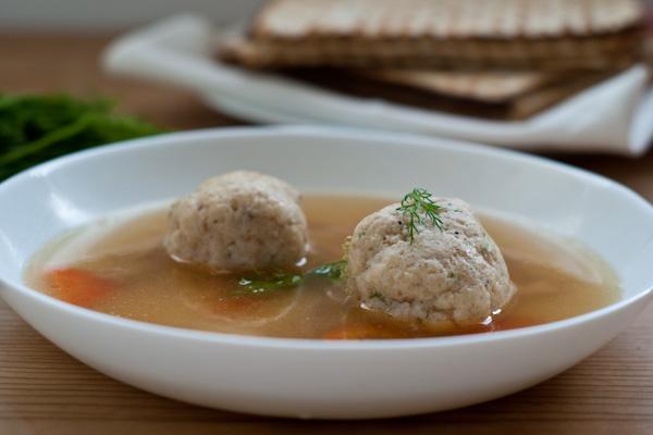 Homemade matzo ball soup