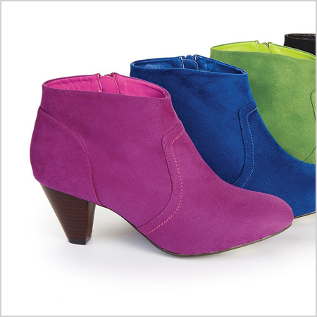MetroStyle Faux Suede Bootie in Magenta (metrostyle.com, $60)