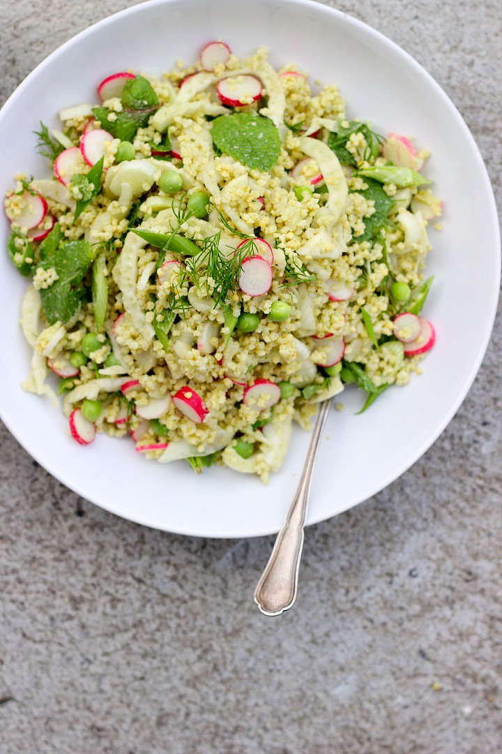 Millet salad with creamy dill dressing