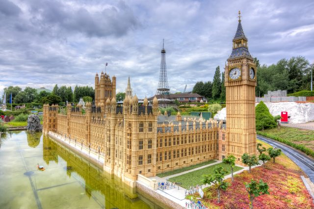 Brussels, Belgium - July 2018: Big Ben, Westminster palace and Eiffel tower in mini Europe park on a summer day