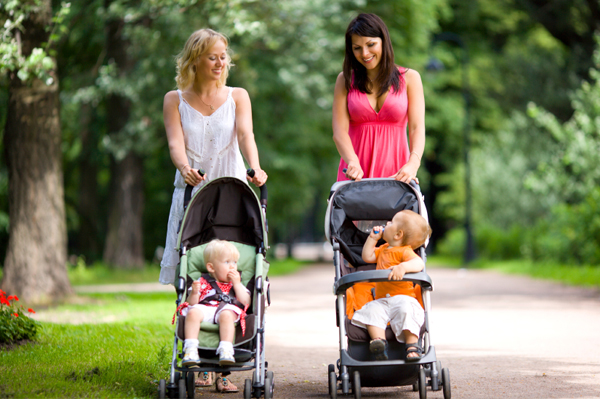 Mom friends with strollers