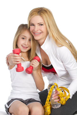 Mother and daughter workout