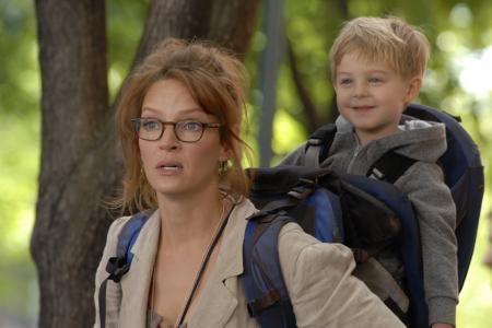 Love Uma Thurman's look versus her Motherhood film son's!
