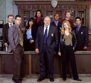 The cast of NYPD Blue including Gail O'Grady
