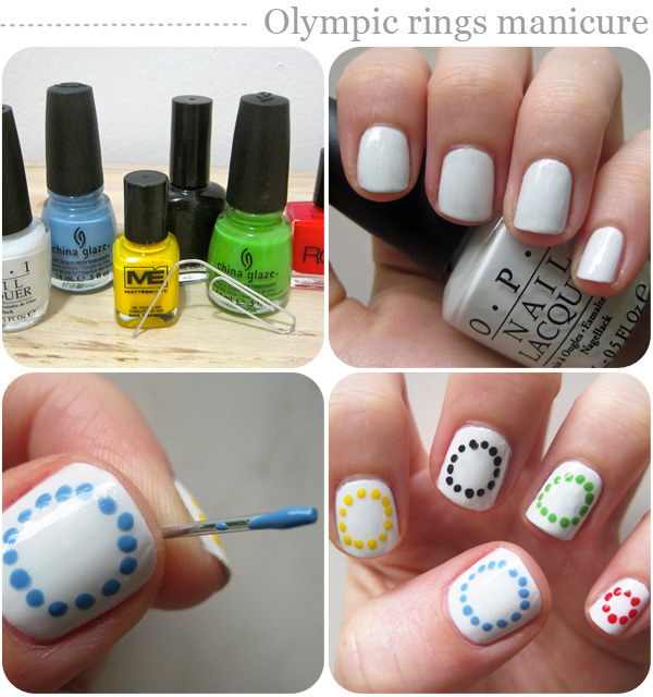 Nail art designs: Olympic rings manicure