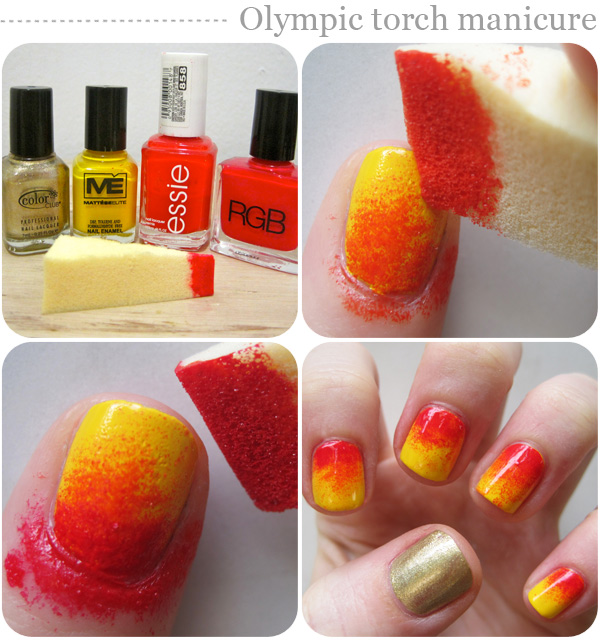 Nail art designs: Olympic torch manicure