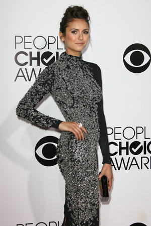 Nina Dobrev's Beautiful Black Jenny Packham Dress